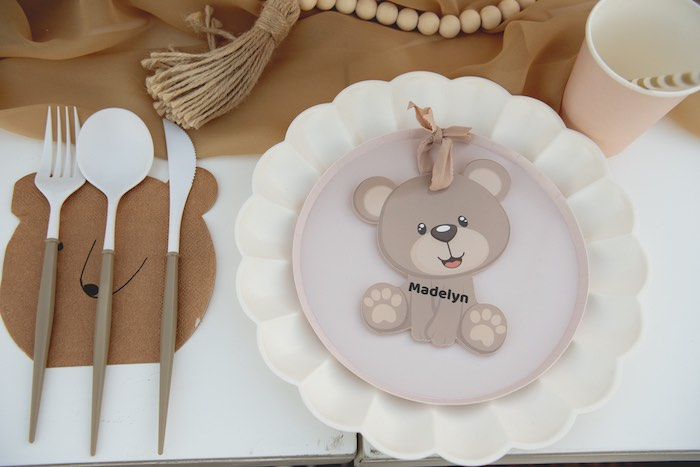 Personalized Teddy Bear Table Setting from a Teddy Bear Birthday Party on Kara's Party Ideas | KarasPartyIdeas.com (10)