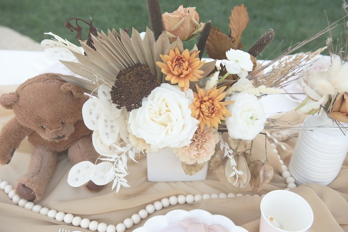 Neutral-colored Floral Centerpiece from a Teddy Bear Birthday Party on Kara's Party Ideas | KarasPartyIdeas.com (8)