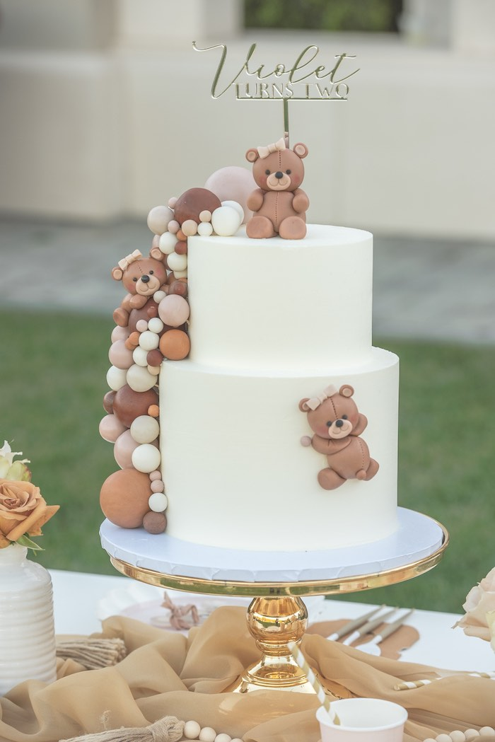 Teddy Bear Birthday Cake from a Teddy Bear Birthday Party on Kara's Party Ideas | KarasPartyIdeas.com (7)