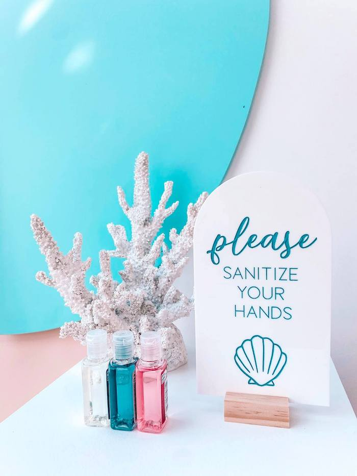 Under the Sea-inspired Signage + Sanitize Station from a Turquoise and Pink Mermaid Birthday Party on Kara's Party Ideas | KarasPartyIdeas.com (19)