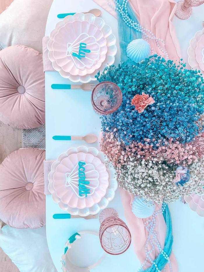 Gorgeous Turquoise and Pink Mermaid-inspired Guest Table from a Turquoise and Pink Mermaid Birthday Party on Kara's Party Ideas | KarasPartyIdeas.com (16)