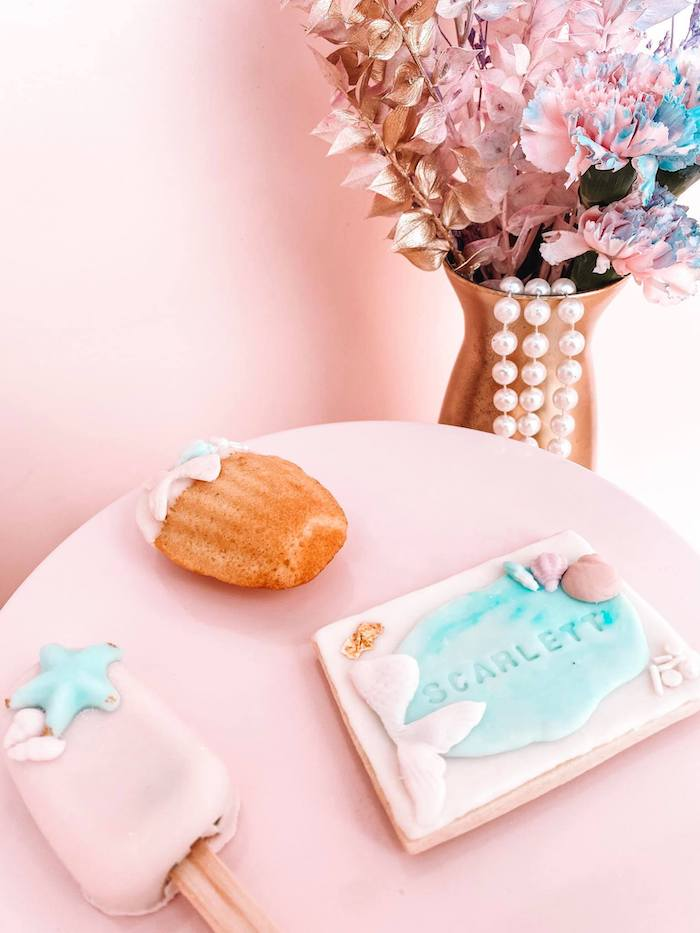 Custom Under the Sea Cookie + Sweets from a Turquoise and Pink Mermaid Birthday Party on Kara's Party Ideas | KarasPartyIdeas.com (14)