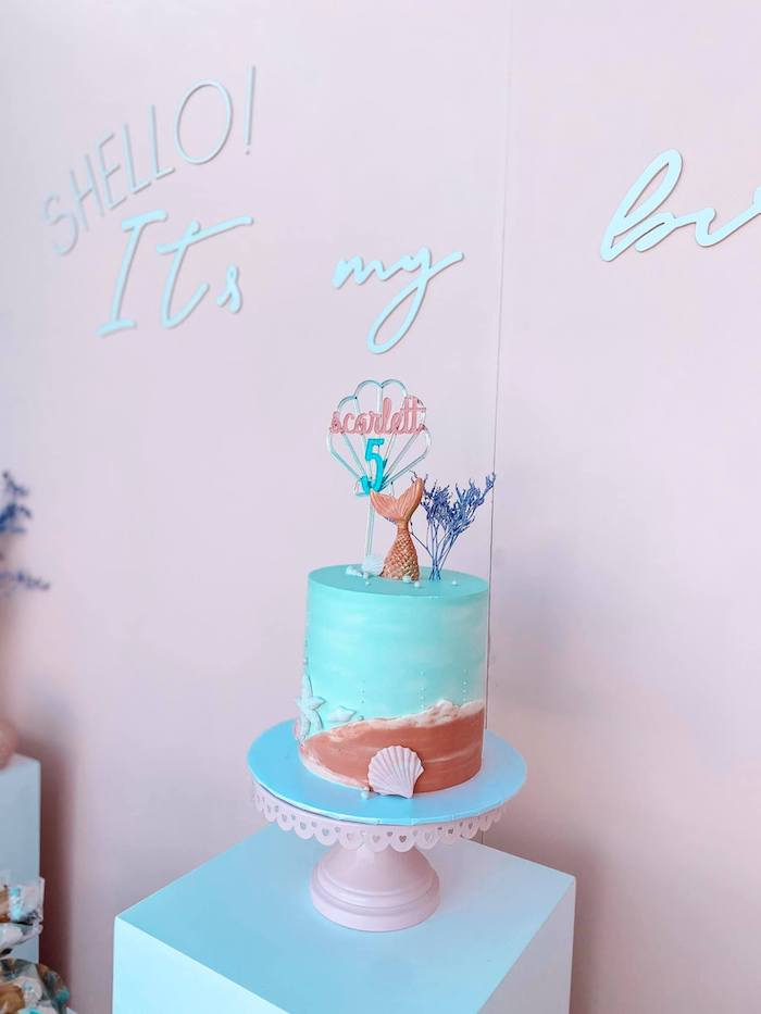 Under the Sea Mermaid Cake from a Turquoise and Pink Mermaid Birthday Party on Kara's Party Ideas | KarasPartyIdeas.com (13)