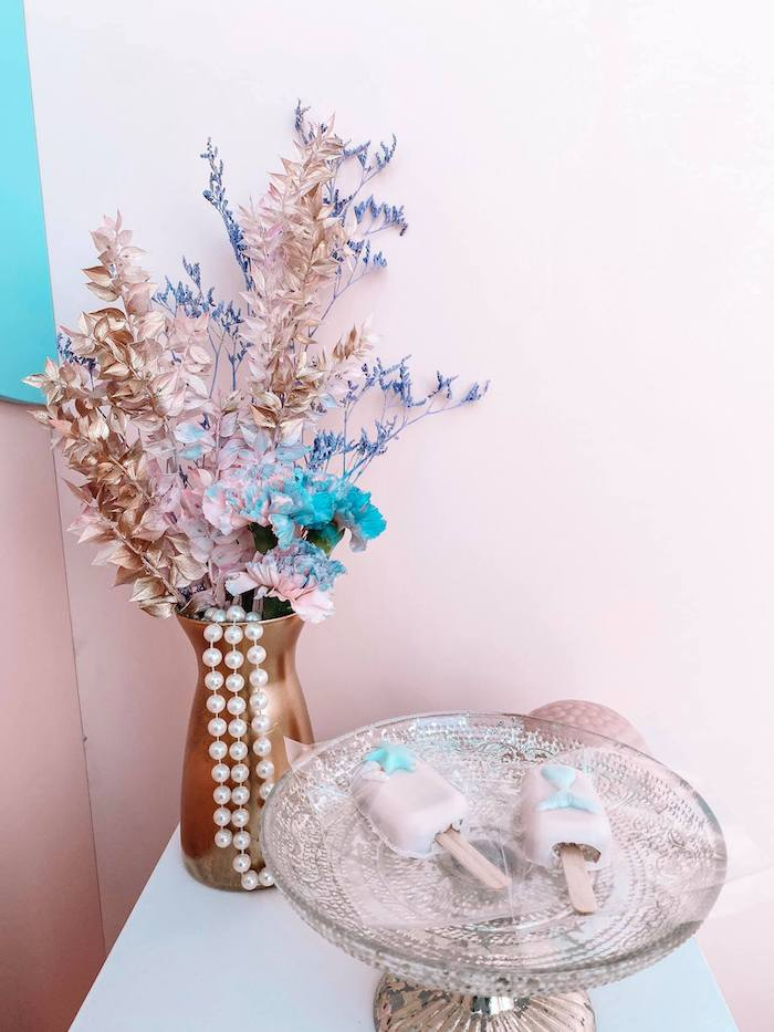 Under the Sea-inspired Blooms + Dessert Platter from a Turquoise and Pink Mermaid Birthday Party on Kara's Party Ideas | KarasPartyIdeas.com (12)