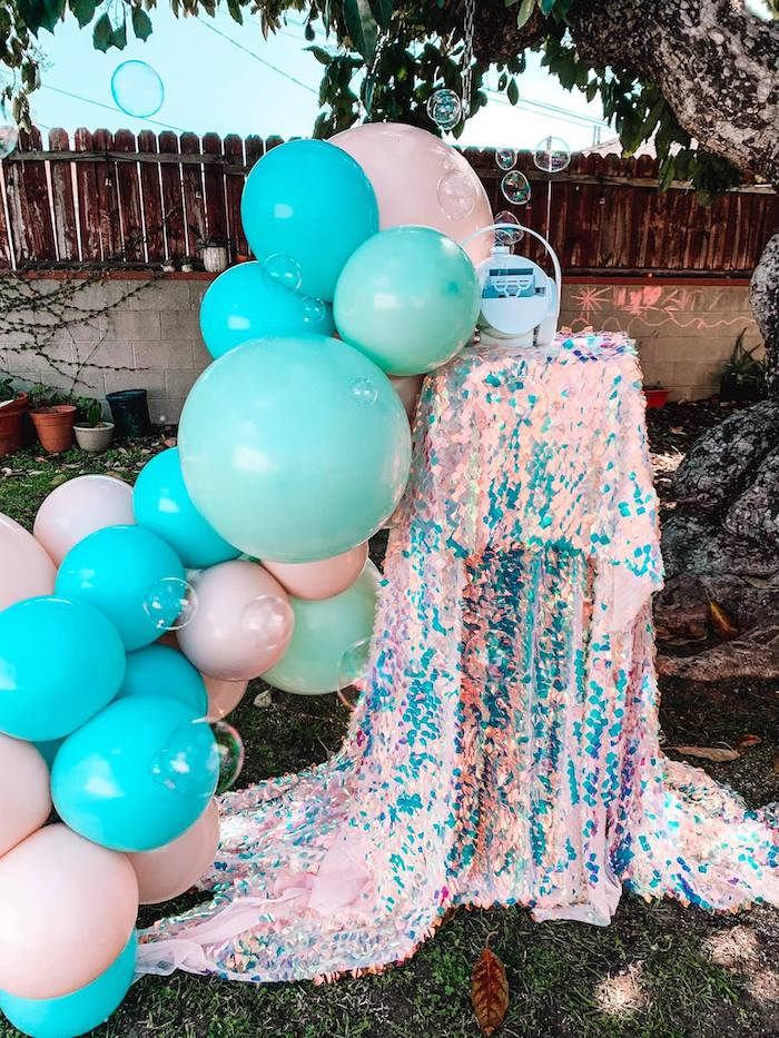 Turquoise and Pink Mermaid Birthday Party on Kara's Party Ideas | KarasPartyIdeas.com (9)