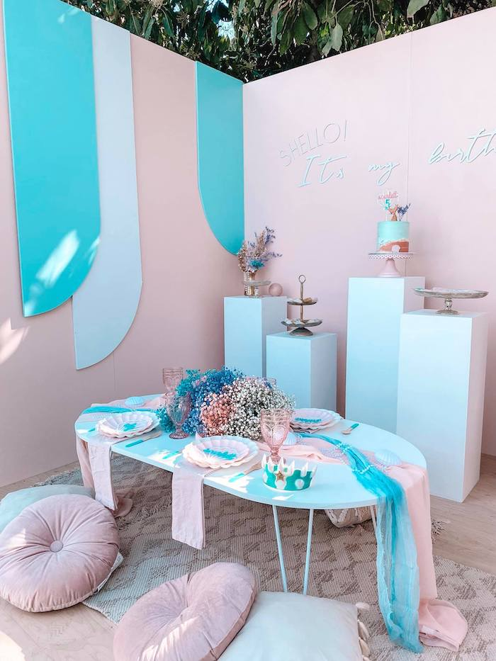 Turquoise and Pink Mermaid Birthday Party on Kara's Party Ideas | KarasPartyIdeas.com (8)