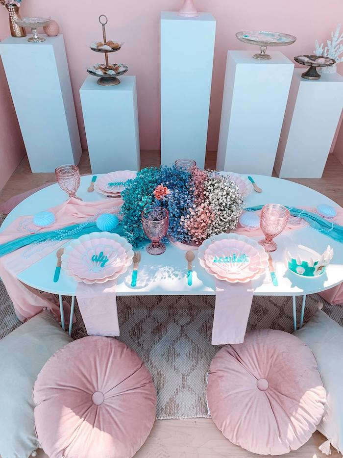 Turquoise and Pink Mermaid Birthday Party on Kara's Party Ideas | KarasPartyIdeas.com (6)