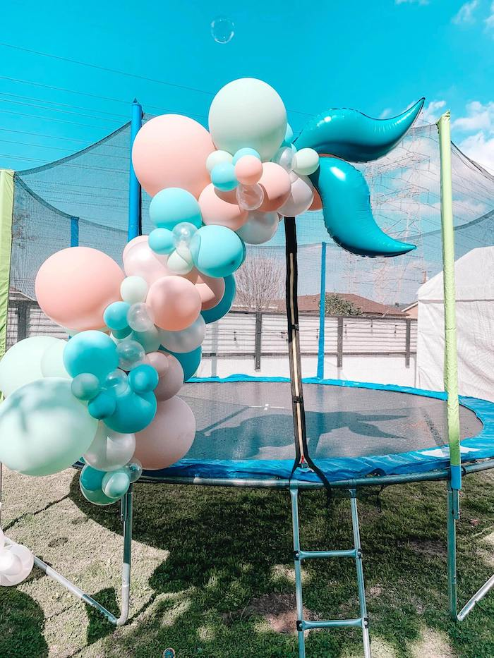 Mermaid Fin Balloon Install from a Turquoise and Pink Mermaid Birthday Party on Kara's Party Ideas | KarasPartyIdeas.com (27)