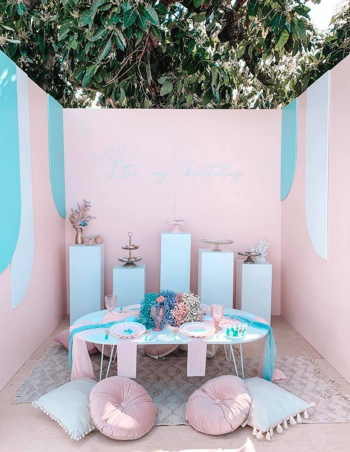 Turquoise and Pink Mermaid Birthday Party on Kara's Party Ideas | KarasPartyIdeas.com (26)