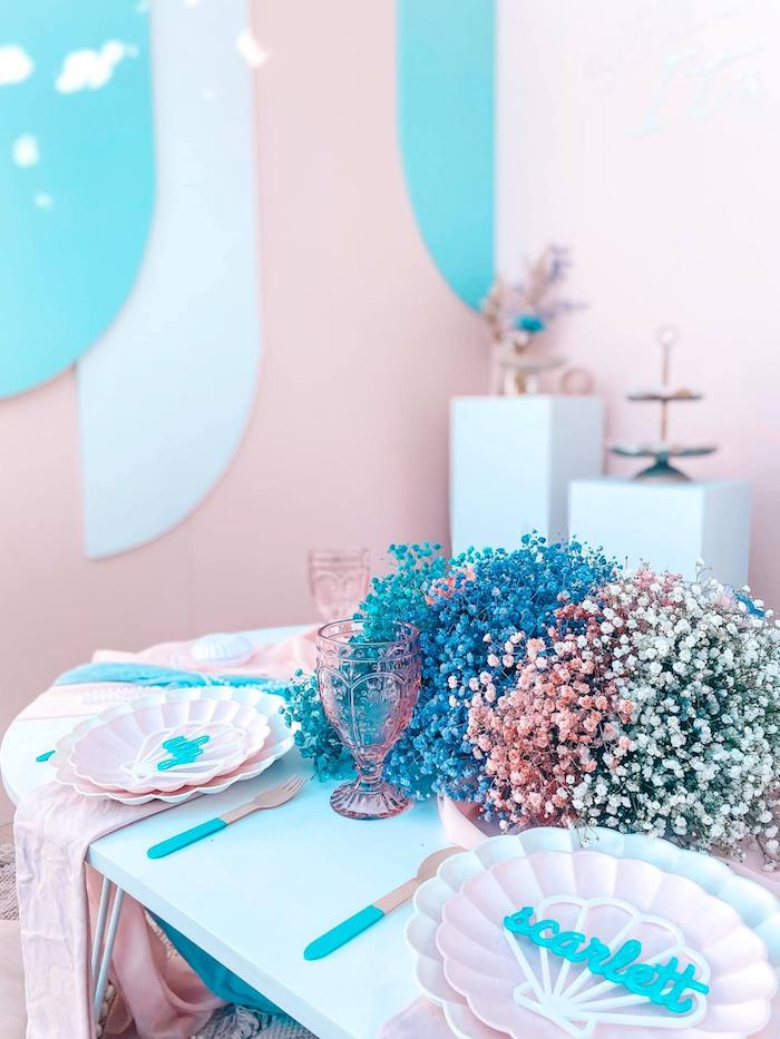 Turquoise and Pink Mermaid-inspired Guest Table from a Turquoise and Pink Mermaid Birthday Party on Kara's Party Ideas | KarasPartyIdeas.com (25)
