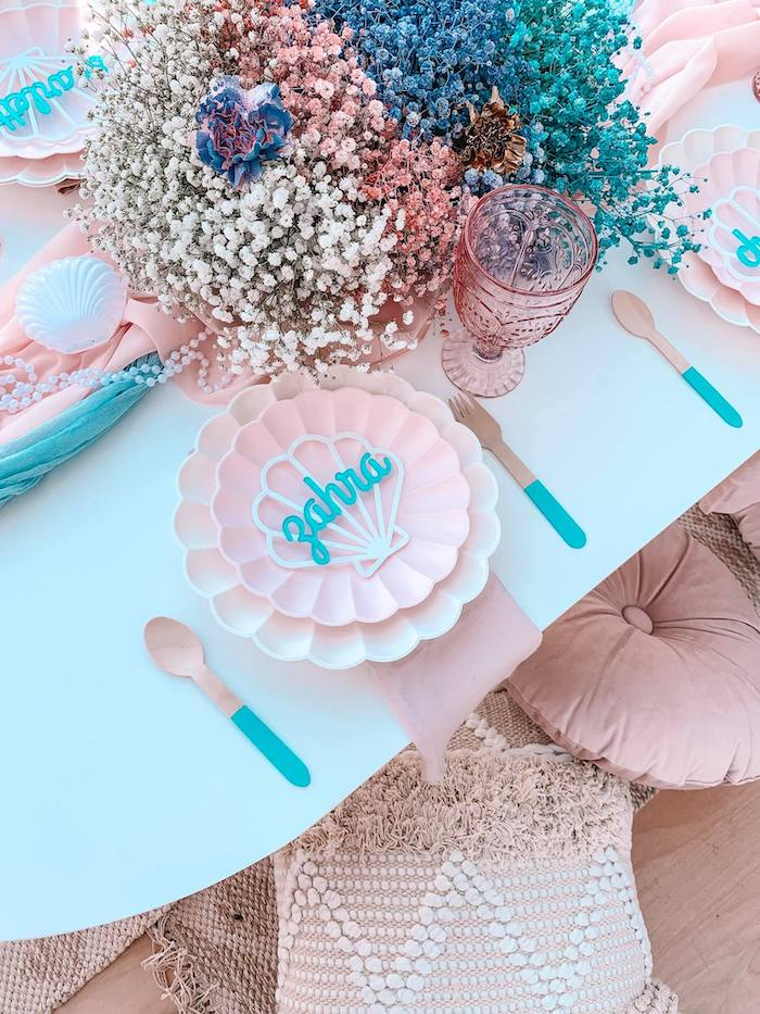 Turquoise and Pink Mermaid-inspired Table Setting from a Turquoise and Pink Mermaid Birthday Party on Kara's Party Ideas | KarasPartyIdeas.com (24)