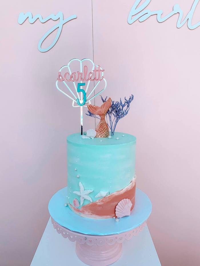 Mermaid Cake from a Turquoise and Pink Mermaid Birthday Party on Kara's Party Ideas | KarasPartyIdeas.com (23)