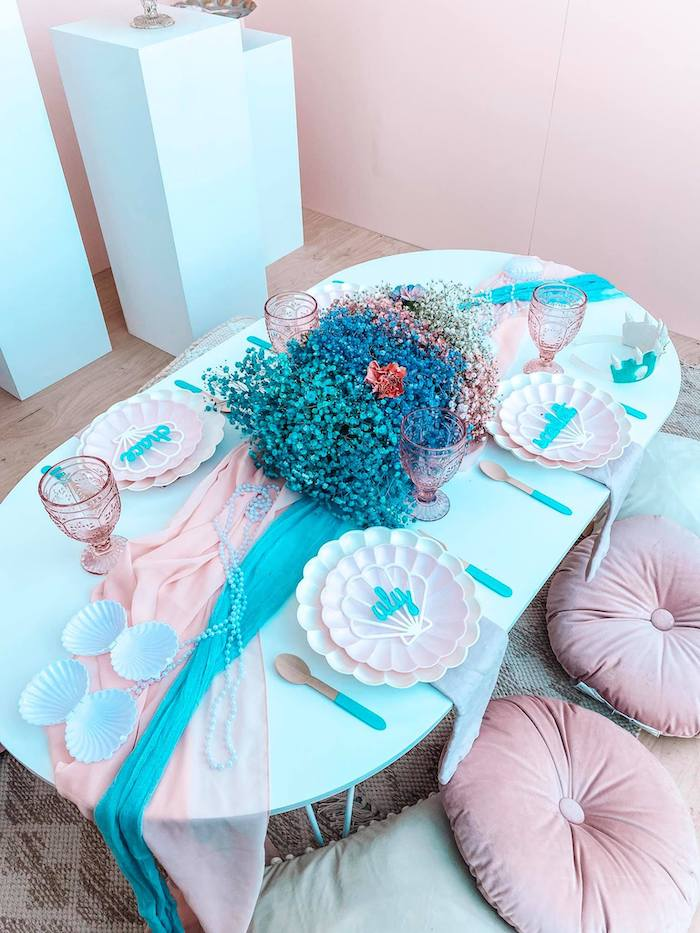 Gorgeous Turquoise and Pink Mermaid-inspired Guest Table from a Turquoise and Pink Mermaid Birthday Party on Kara's Party Ideas | KarasPartyIdeas.com (22)