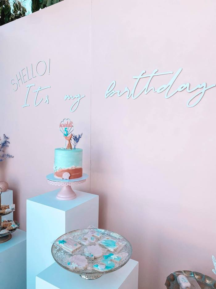 """""""Shello! It's my Birthday""""Turquoise and Pink Dessert Spread from a Turquoise and Pink Mermaid Birthday Party on Kara's Party Ideas 