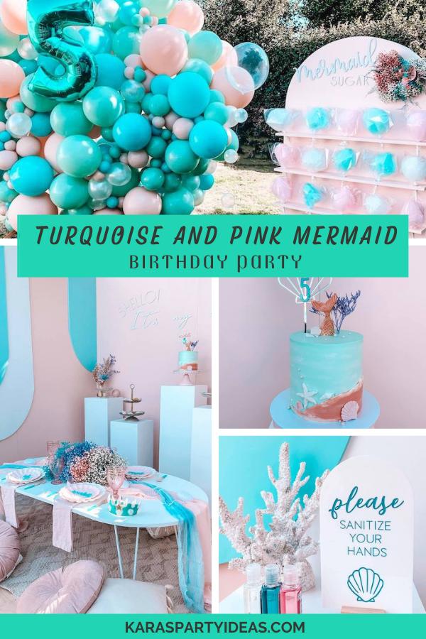 Turquoise and Pink Mermaid Birthday Party via Kara's Party Ideas - KarasPartyIdeas.com