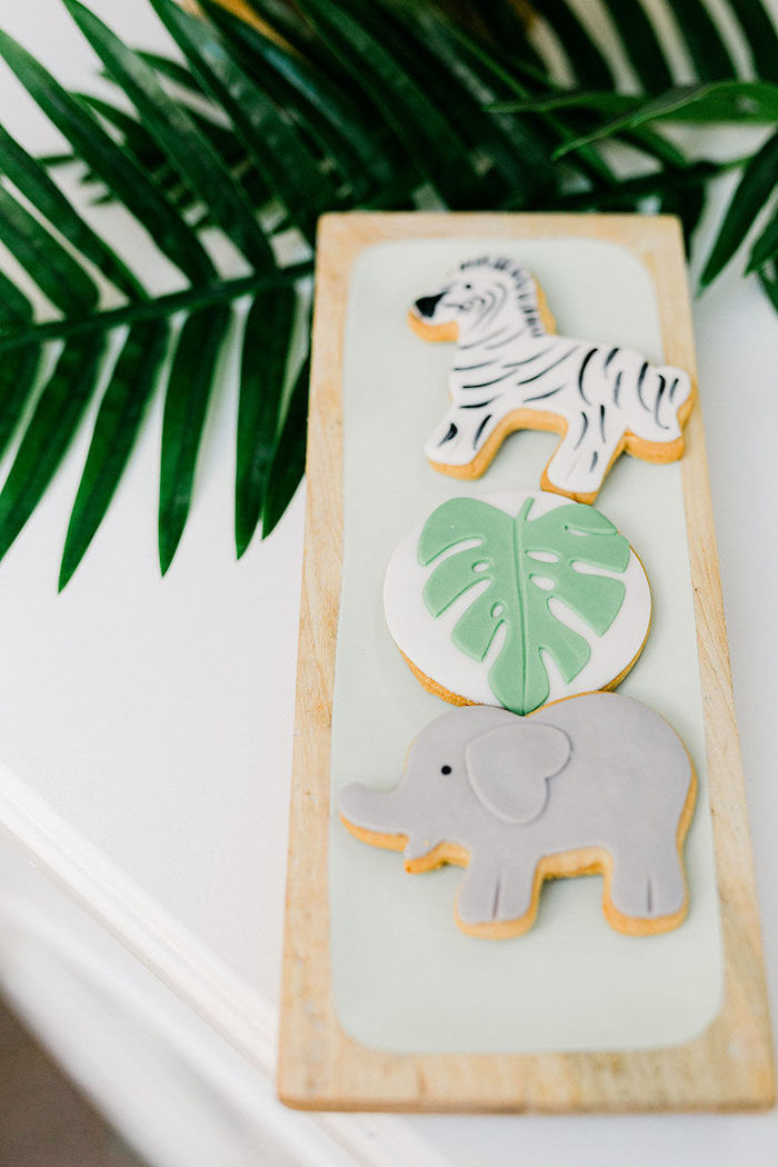 Safari Themed Sugar Cookies from a Wild Safari Baptism Party on Kara's Party Ideas   KarasPartyIdeas.com (30)