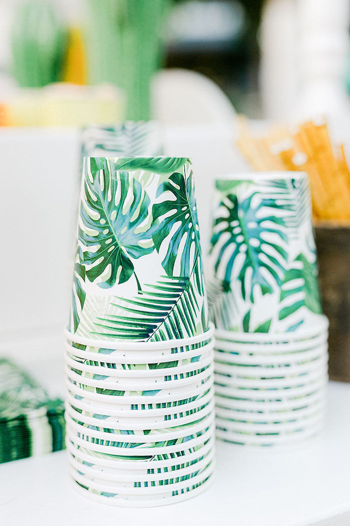 Tropical Leaf Cups from a Wild Safari Baptism Party on Kara's Party Ideas | KarasPartyIdeas.com (28)
