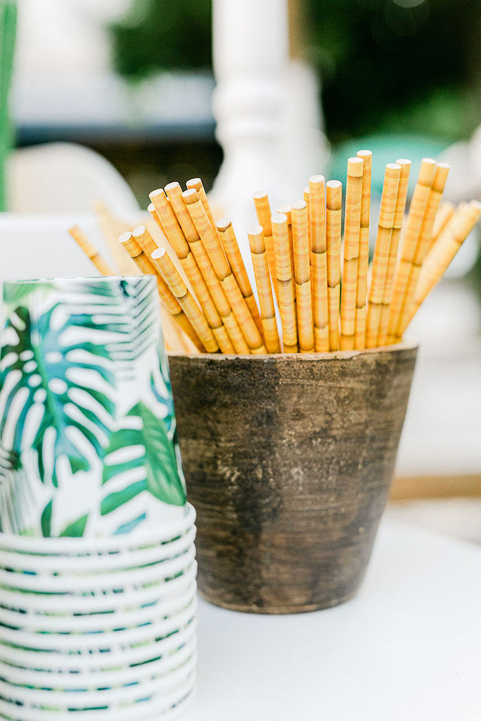 Bamboo-print Straws from a Wild Safari Baptism Party on Kara's Party Ideas | KarasPartyIdeas.com (27)