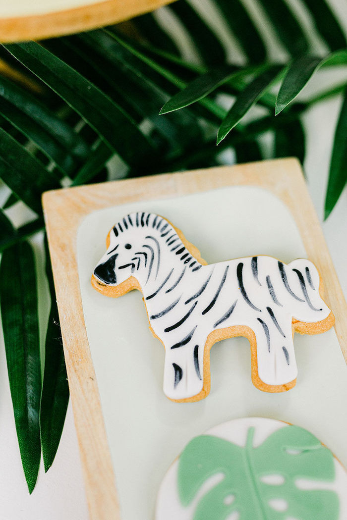 Zebra Cookie from a Wild Safari Baptism Party on Kara's Party Ideas | KarasPartyIdeas.com (24)