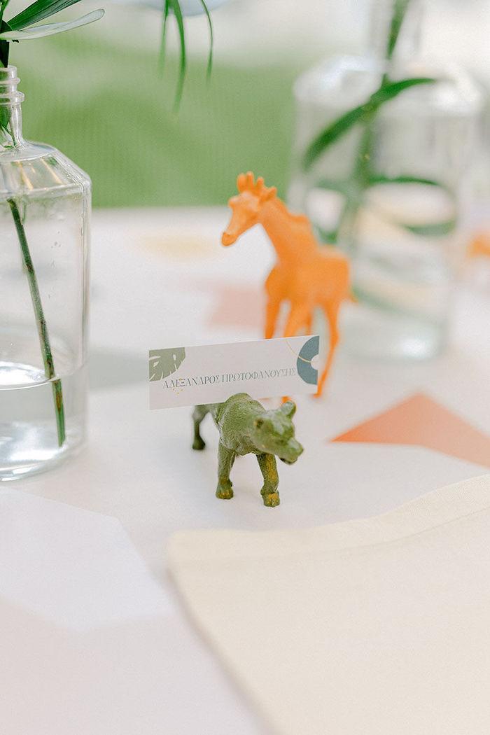 Safari Animal Place Card Holder from a Wild Safari Baptism Party on Kara's Party Ideas   KarasPartyIdeas.com (20)