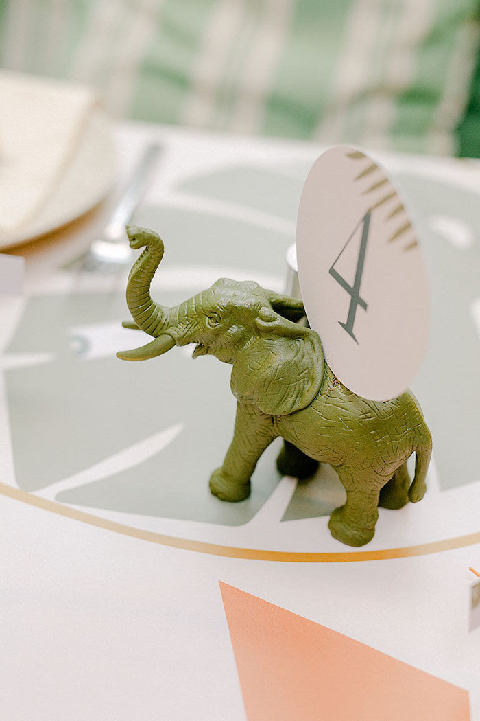 Safari Animal Table Number Holder from a Wild Safari Baptism Party on Kara's Party Ideas | KarasPartyIdeas.com (15)