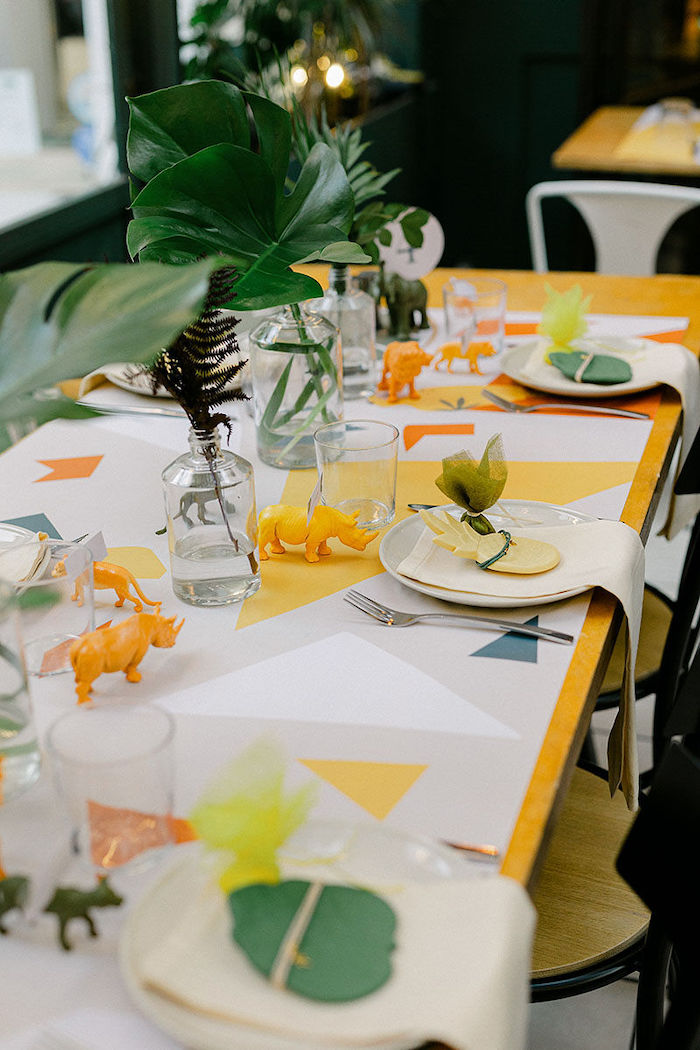 Safari Themed Guest Tablescape + Table Settings from a Wild Safari Baptism Party on Kara's Party Ideas | KarasPartyIdeas.com (14)