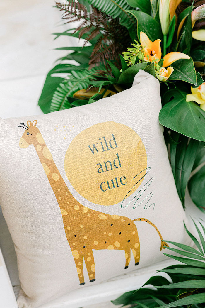 Custom Wild and Cute Safari Pillow from aWild Safari Baptism Party on Kara's Party Ideas   KarasPartyIdeas.com (41)