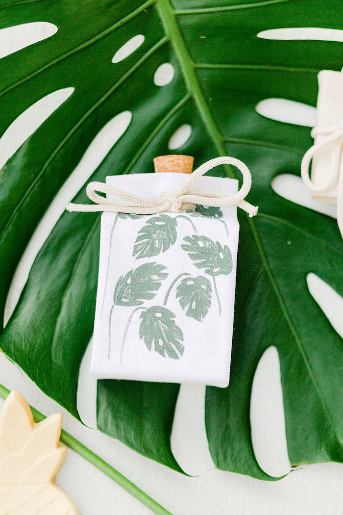 Tropical Leaf Drawstring Favor Sack from a Wild Safari Baptism Party on Kara's Party Ideas | KarasPartyIdeas.com (36)