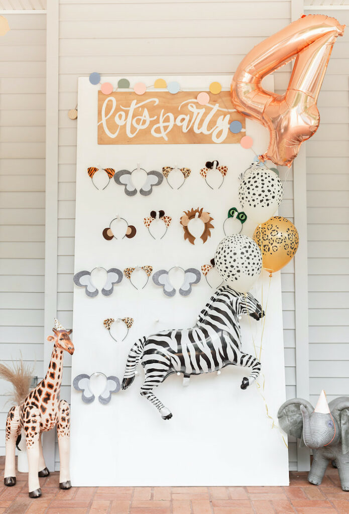 "Let's Party Safari Animal Headband Board from a ""ROAR, She's 4!"" Safari Animal Party on Kara's Party Ideas | KarasPartyIdeas.com"
