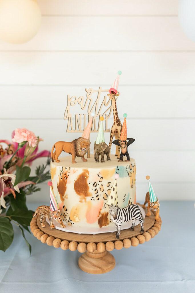 "Party Animal Cake from a ""ROAR, She's 4!"" Safari Animal Party on Kara's Party Ideas | KarasPartyIdeas.com"