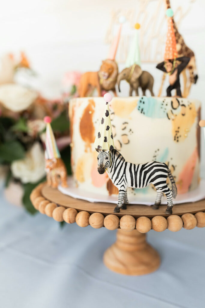 """Party Animal Safari Cake from a """"ROAR, She's 4!"""" Safari Animal Party on Kara's Party Ideas 