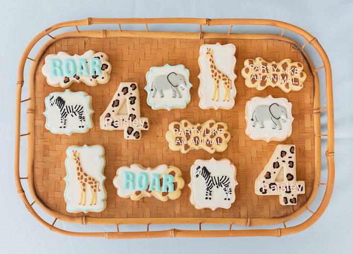 "Safari Animal Cookies from a ""ROAR, She's 4!"" Safari Animal Party on Kara's Party Ideas | KarasPartyIdeas.com"