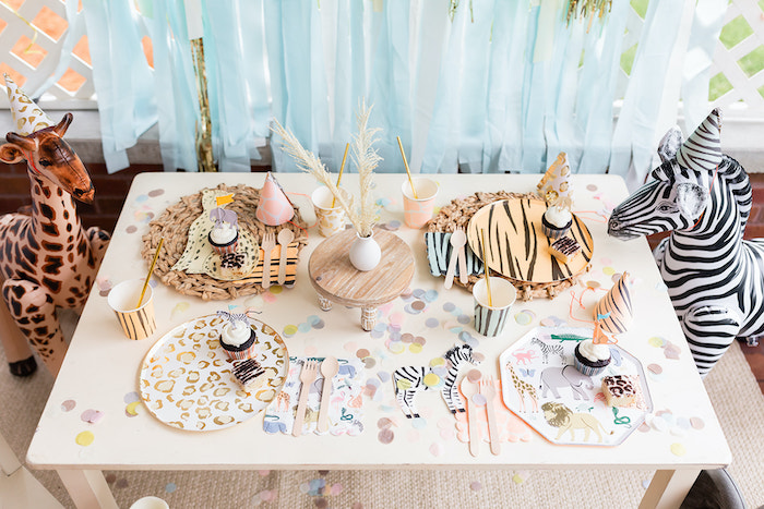 """Safari Party Animal Guest Table from a """"ROAR, She's 4!"""" Safari Animal Party on Kara's Party Ideas 