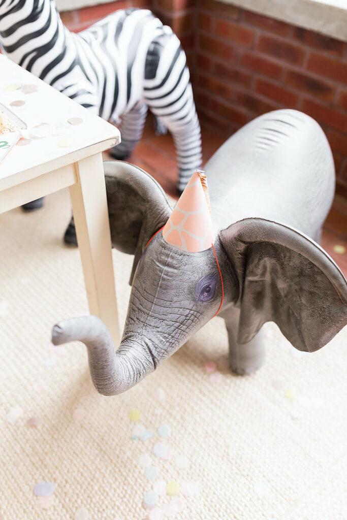"Party Elephant from a ""ROAR, She's 4!"" Safari Animal Party on Kara's Party Ideas | KarasPartyIdeas.com"