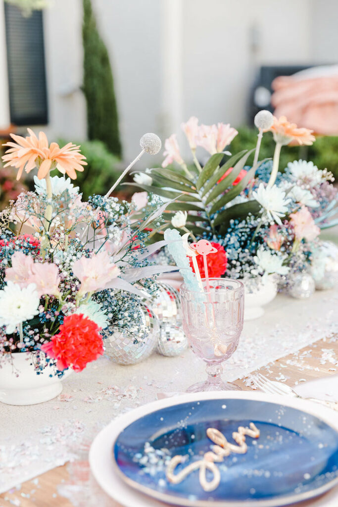 """Space-inspired Florals from a """"Stay Wild, Moon Child"""" Dreamy Birthday Party on Kara's Party Ideas 