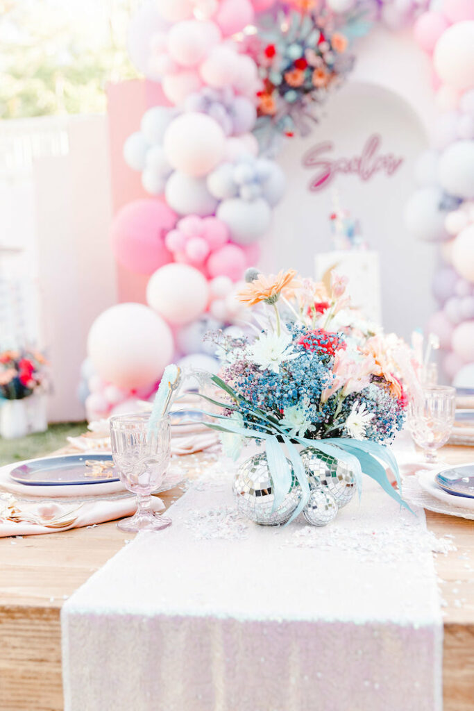 """Girly Space Themed Guest Table from a """"Stay Wild, Moon Child"""" Dreamy Birthday Party on Kara's Party Ideas 