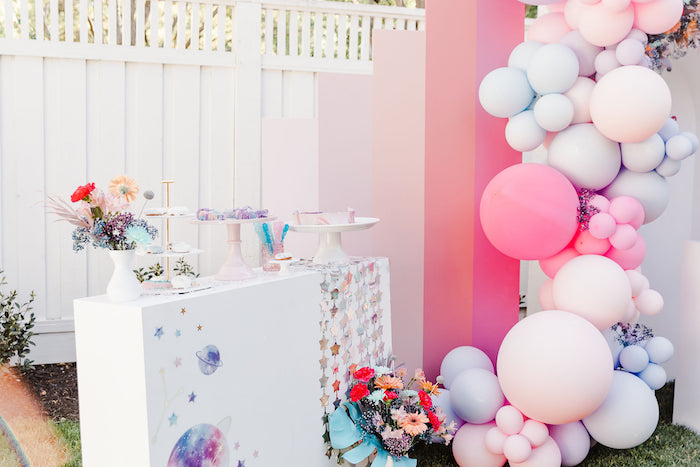 """Girly Space Themed Dessert Table from a """"Stay Wild, Moon Child"""" Dreamy Birthday Party on Kara's Party Ideas 