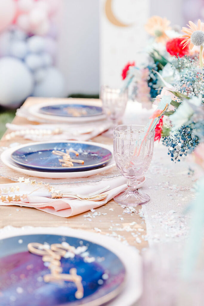 """Galaxy Guest Table Settings from a """"Stay Wild, Moon Child"""" Dreamy Birthday Party on Kara's Party Ideas 