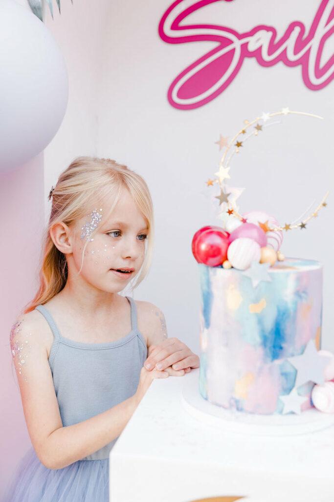 "Girly Galaxy + Moon Cake from a ""Stay Wild, Moon Child"" Dreamy Birthday Party on Kara's Party Ideas | KarasPartyIdeas.com"