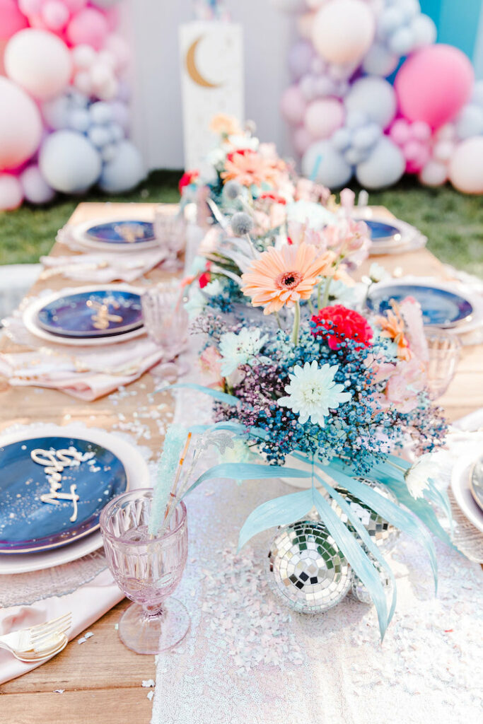 """Girly Galaxy Guest Table from a """"Stay Wild, Moon Child"""" Dreamy Birthday Party on Kara's Party Ideas 