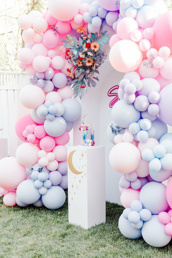 "Girly Galaxy Cake Pedestal from a ""Stay Wild, Moon Child"" Dreamy Birthday Party on Kara's Party Ideas | KarasPartyIdeas.com"