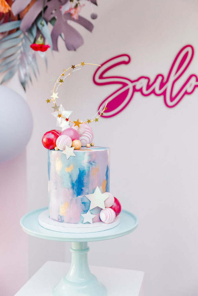 "Girly Moon Cake from a ""Stay Wild, Moon Child"" Dreamy Birthday Party on Kara's Party Ideas | KarasPartyIdeas.com"