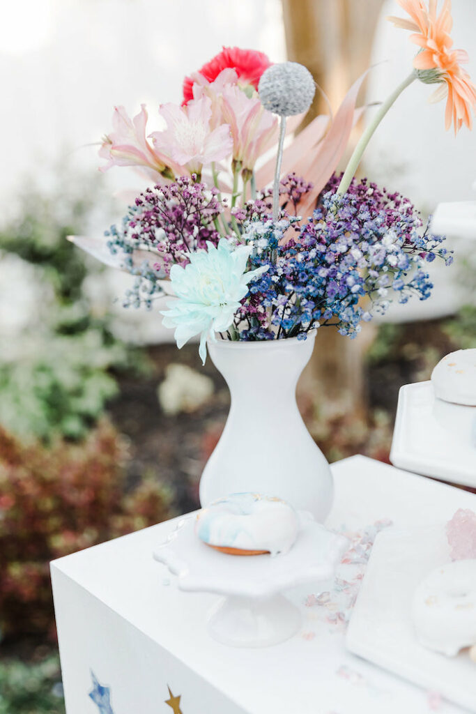 """Girly Galaxy Floral Arrangement from a """"Stay Wild, Moon Child"""" Dreamy Birthday Party on Kara's Party Ideas 