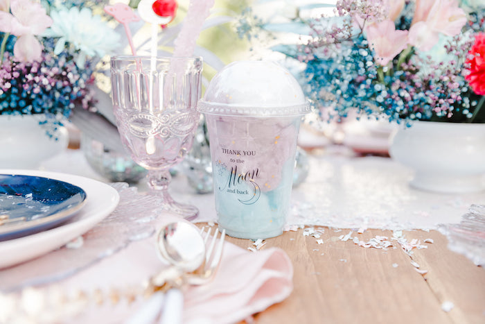 """""""Thank You to the Moon & Back"""" Cotton Candy Cup from a """"Stay Wild, Moon Child"""" Dreamy Birthday Party on Kara's Party Ideas 