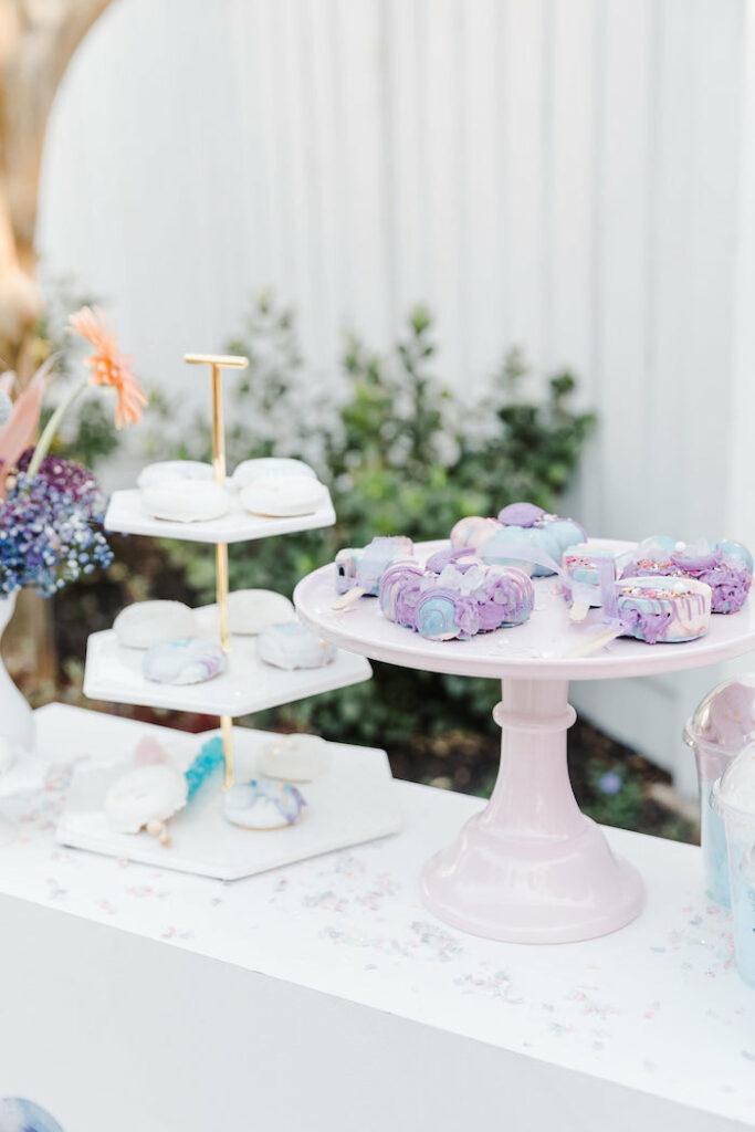"Modern Dessert Table from a ""Stay Wild, Moon Child"" Dreamy Birthday Party on Kara's Party Ideas | KarasPartyIdeas.com"