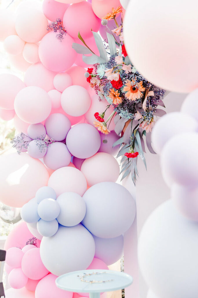 """Floral-infused Balloon Garland from a """"Stay Wild, Moon Child"""" Dreamy Birthday Party on Kara's Party Ideas 