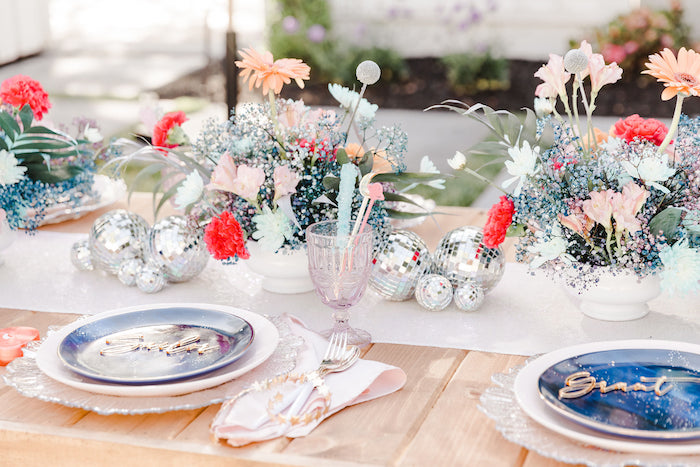 """Celestial-inspired Guest Table from a """"Stay Wild, Moon Child"""" Dreamy Birthday Party on Kara's Party Ideas 