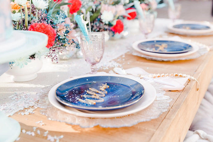 "Celestial Table Setting from a ""Stay Wild, Moon Child"" Dreamy Birthday Party on Kara's Party Ideas | KarasPartyIdeas.com"