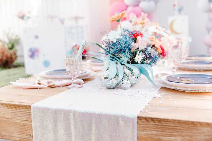 """Galaxy Guest Table from a """"Stay Wild, Moon Child"""" Dreamy Birthday Party on Kara's Party Ideas 
