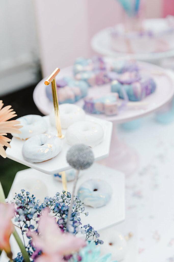 "Mini Glam Doughnuts from a ""Stay Wild, Moon Child"" Dreamy Birthday Party on Kara's Party Ideas | KarasPartyIdeas.com"